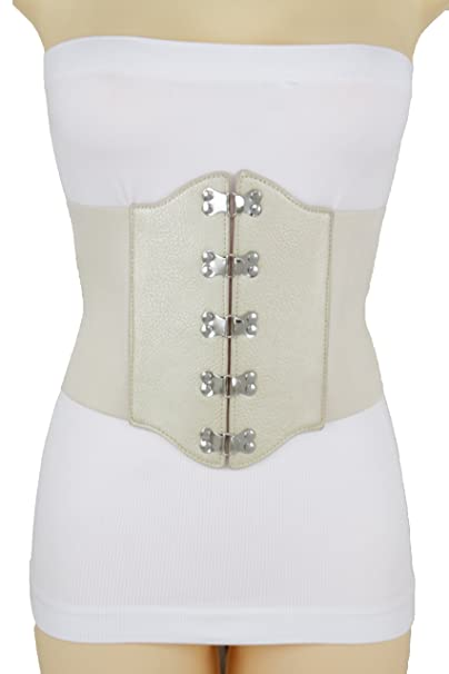 858c291bf3 TFJ Women Belt Hip Light Gold Corset Silver Buckles Metallic Beige Bling S M