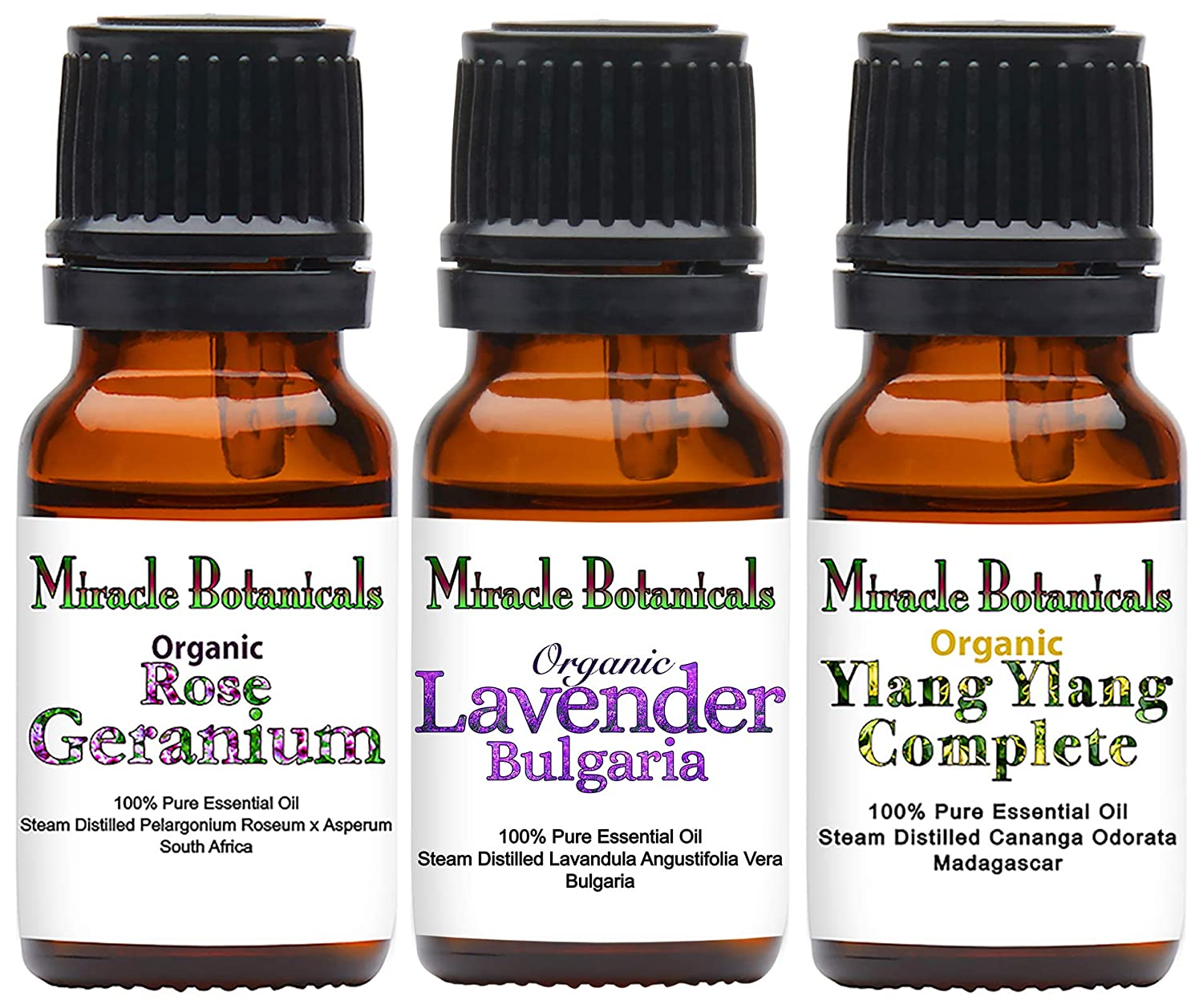 Miracle Botanicals Organic Floral Trio Oil Sampler - Set of 3 100% Pure Therapeutic Grade Essential Oils of Lavender Bulgaria, Ylang Ylang Complete, and Rose Geranium - (3) 10ml