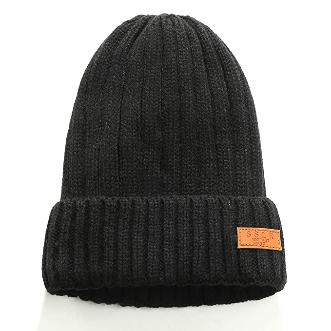 ce60997899b7e SSLR Adult Solid Thermal Knit Winter Fleece Lined Beanie Hat (One Size