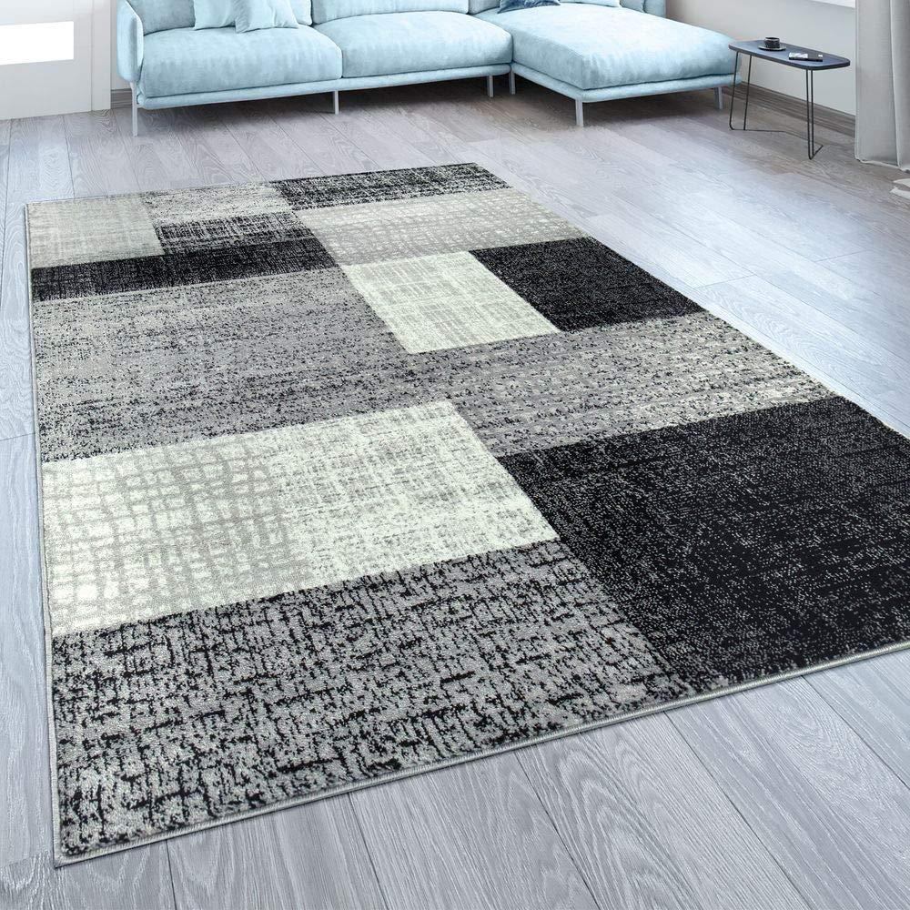 Paco Home Designer Wohnzimmer Teppich Modern Kurzflor Karo Design Grau Schwarz Weiß, Grösse 200x280 cm
