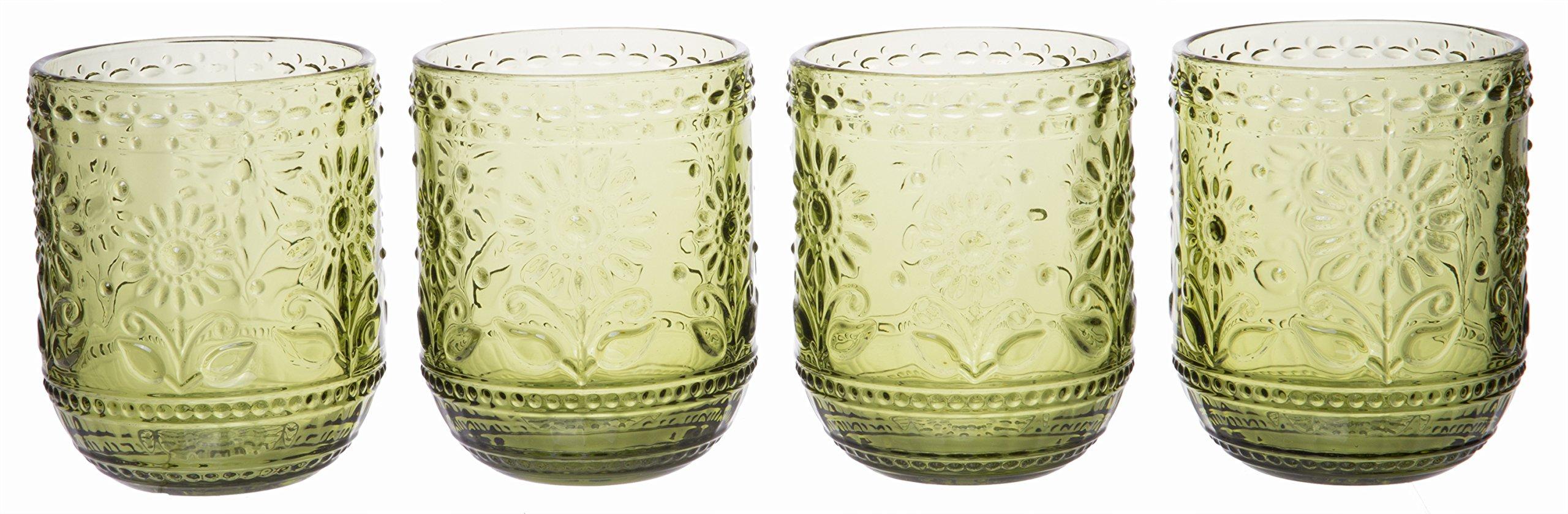 Vintage Botanist Drinking Glass Set, Luxurious Floral Embossed Decorative Green Glassware, Set of 4, 4-inch, 12 oz