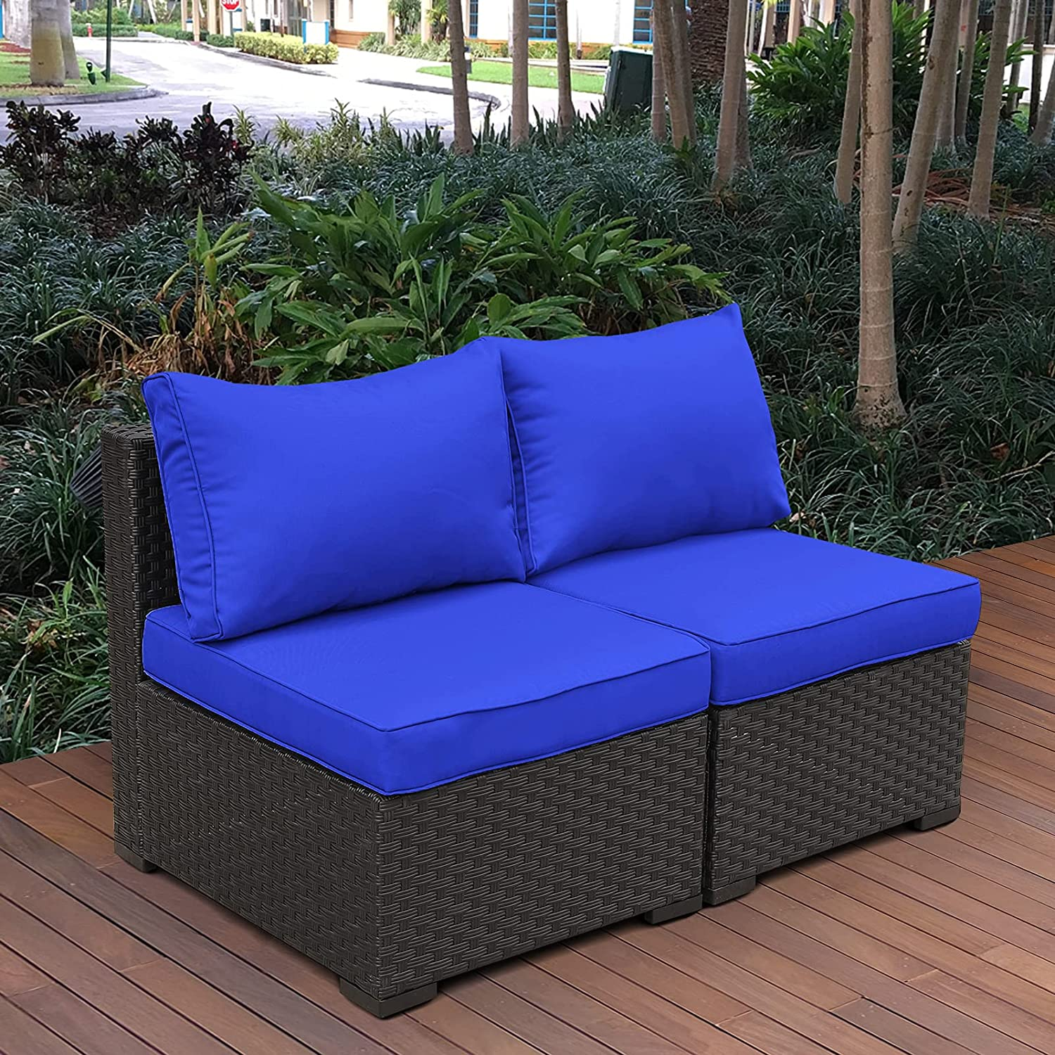 Outdoor Sectional Furniture Set Patio PE Black Wicker Rattan Loveseat Armless Chair Sofa with Cushion (Royal Blue)