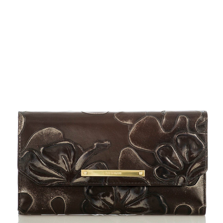 Brahmin Soft Checkbook Brown Umbria Trifold Clutch Wallet H65716bw