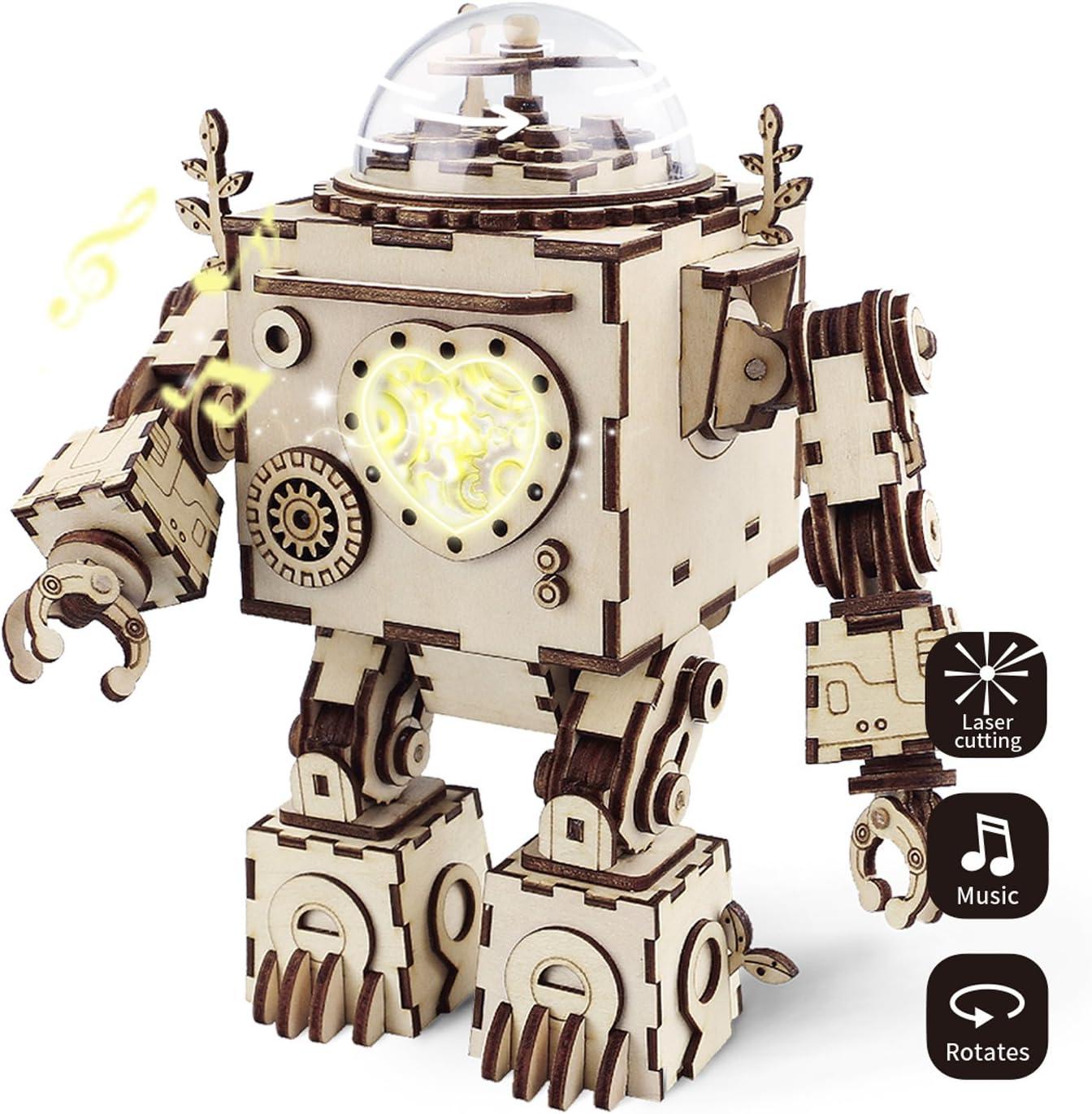 de Construction Jouets de pour 8 Ans et Plus Robotime Casse-t/ête en Bois d/écoup/é au Laser mod/èles Kits DIY Music Box Creative Birthday Cadeaux de No/ël