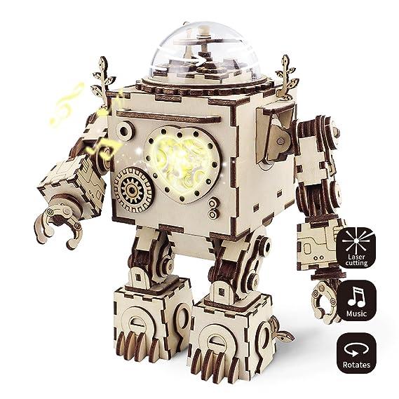 ROBOTIME Laser-Schnitt-hölzernes Puzzlespiel-DIY Mechanismus-Spieluhr-hölzernes Modell Gebäude-Geburtstags- und Weihnachtsges