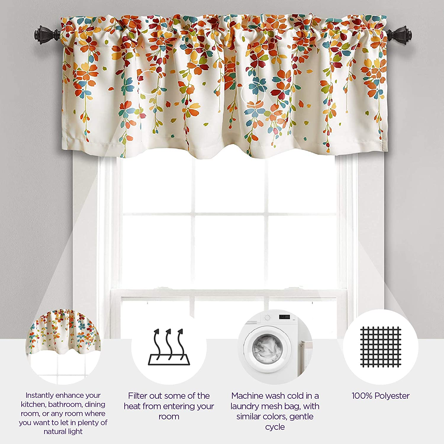 Amazon Com Lush Decor Weeping Flowers Turquoise And Tangerine Valance Curtain For Windows Turquoise Tangerine Home Kitchen