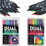 Tombow Dual Brush Pen Art Markers, Bright, 10-Pack Bundle with 10-Pack Galaxy (20 Count Total)