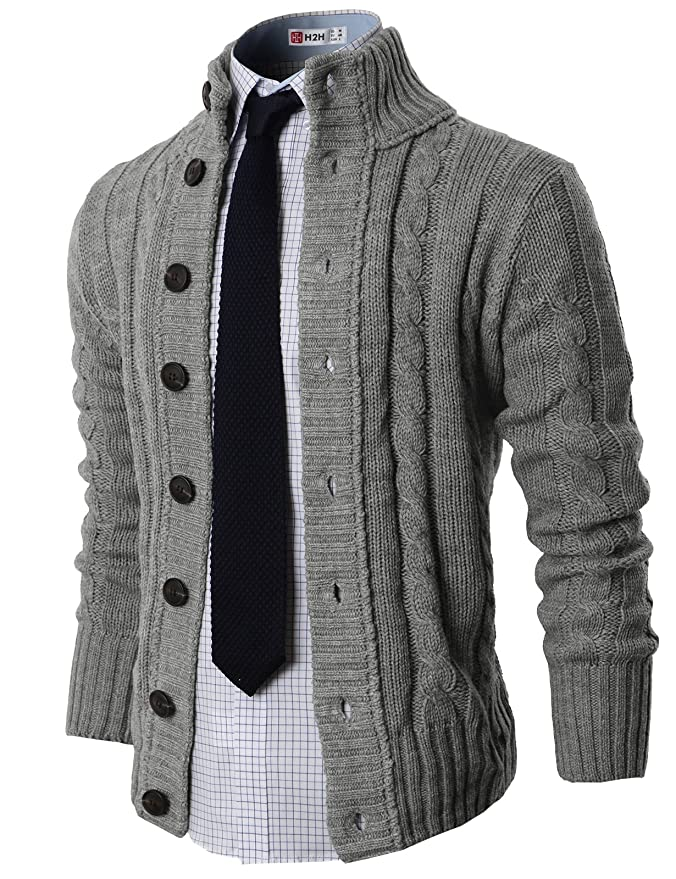 H2H Mens Casual Slim Fit Cardigan Sweater Cable Knitted Button Down Stand  Collar at Amazon Men s Clothing store  b9033c73d