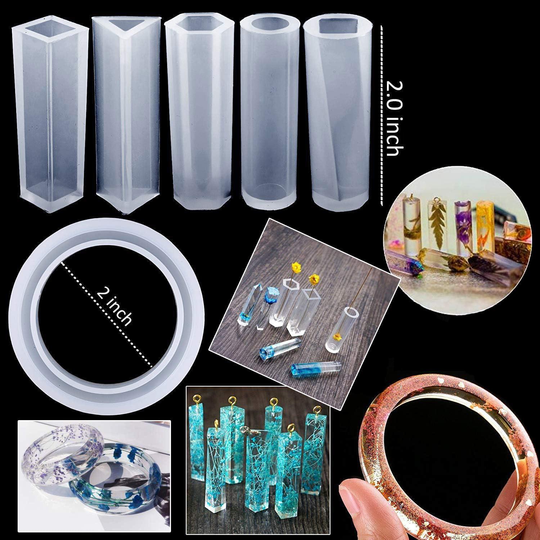 Schwongent 128-teiliges Silikon-Guss-Werkzeug-Set mit Anh/ängern Ohrringen Diamantformen und Hasen-Lesezeichen Armb/ändern