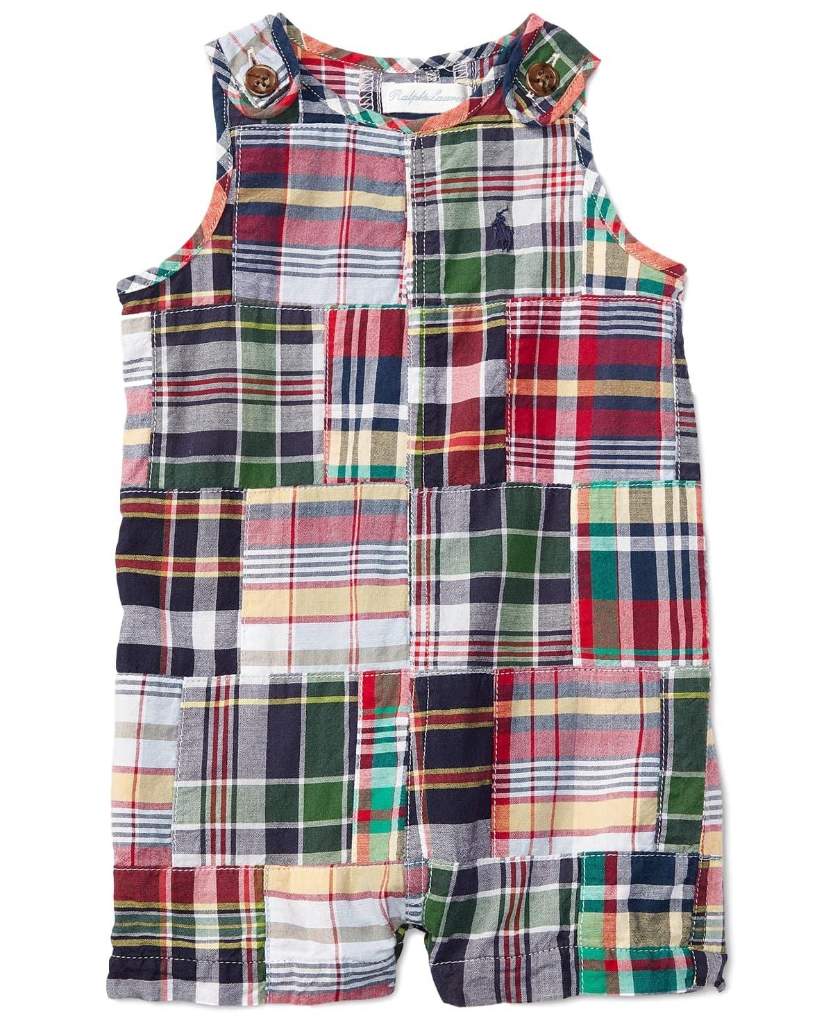 Ralph Lauren Baby Boys Shortalls Bodysuit Big Pony Mesh Pique Cotton Playwear Onesie