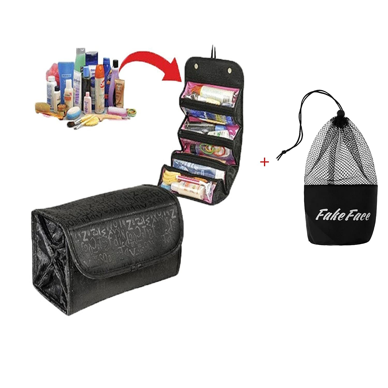 6e388bd8eb78 Amazon.com   4-Layer Roll up Foldable Travel Organizer Multifunctional  Hanging Makeup Cosmetic Bag Large Capacity Toiletry Storage Bag Organizer  Bath Shower ...