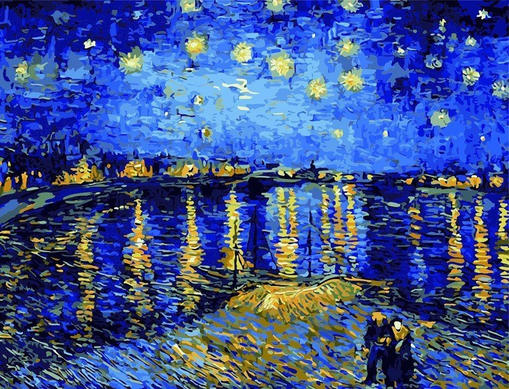 40x50cm DIY油絵キット A40_59 アルルの星空 B00Q3TVWUY Starry Night of Arles Starry Night of Arles