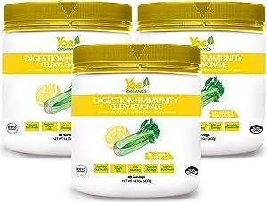 Yae! Organic Celery Juice Powder with Lemonade for Digestion and Immunity 100% Organic Celery Powder Lemonade, Non GMO Gluten Free Vegan, Superfood Powder,Pack of 3 (14.01oz/40 Servings)