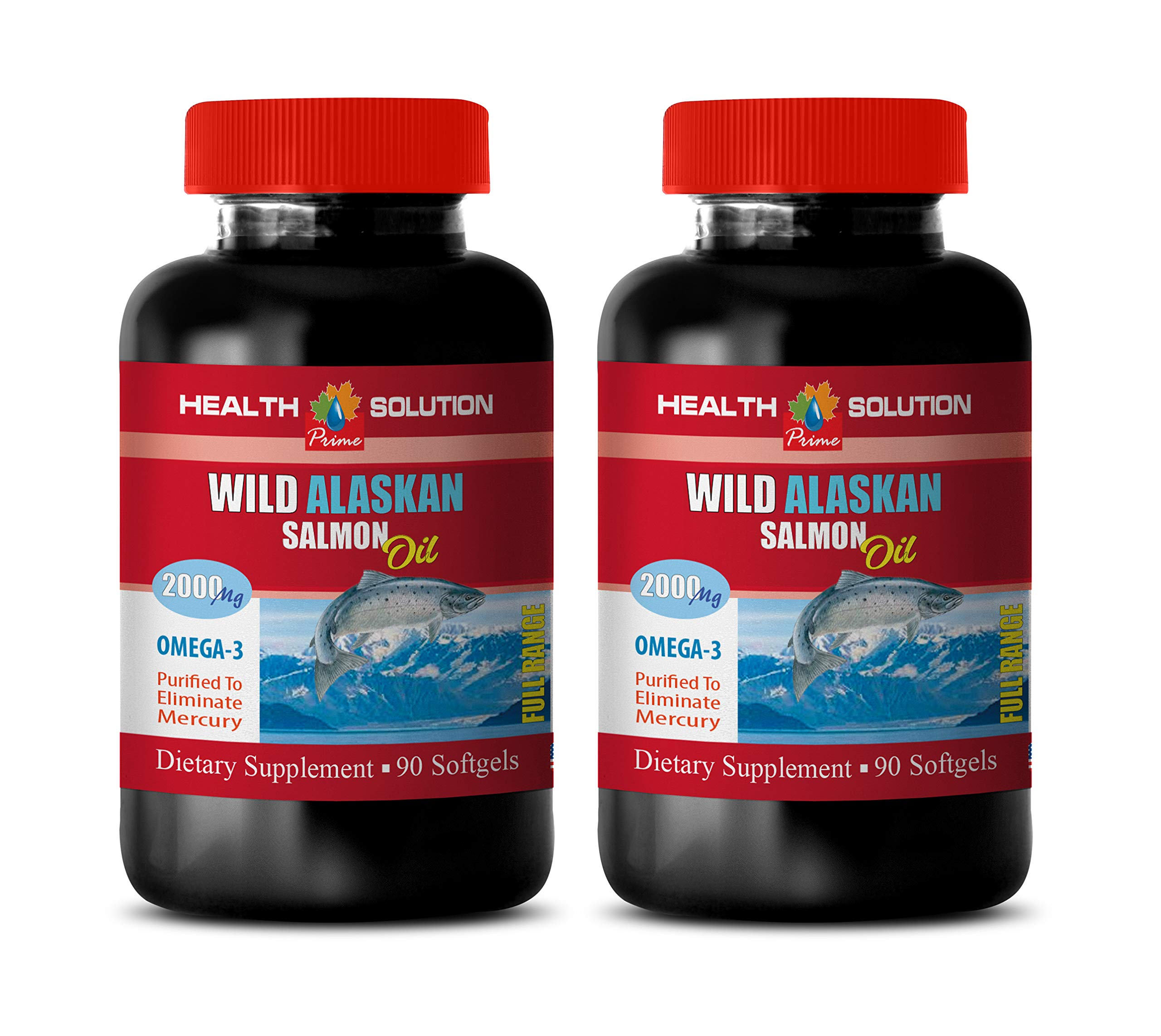 Brain Function Energy Supplement - Wild Alaskan Salmon Oil 2000 MG - Omega 3 - Fish Oil Omega 3 softgels - 2 Bottles 180 Softgels by Health Solution Prime