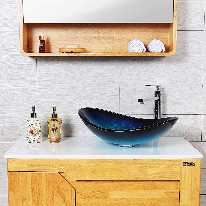 Free Glass Basin Mounting Ring Above Counter Bathroom Lavatory Vanity Basin Bowl Molshine GVS-18-12mm Handmade Artistic Glass Vessel Bathroom Sink