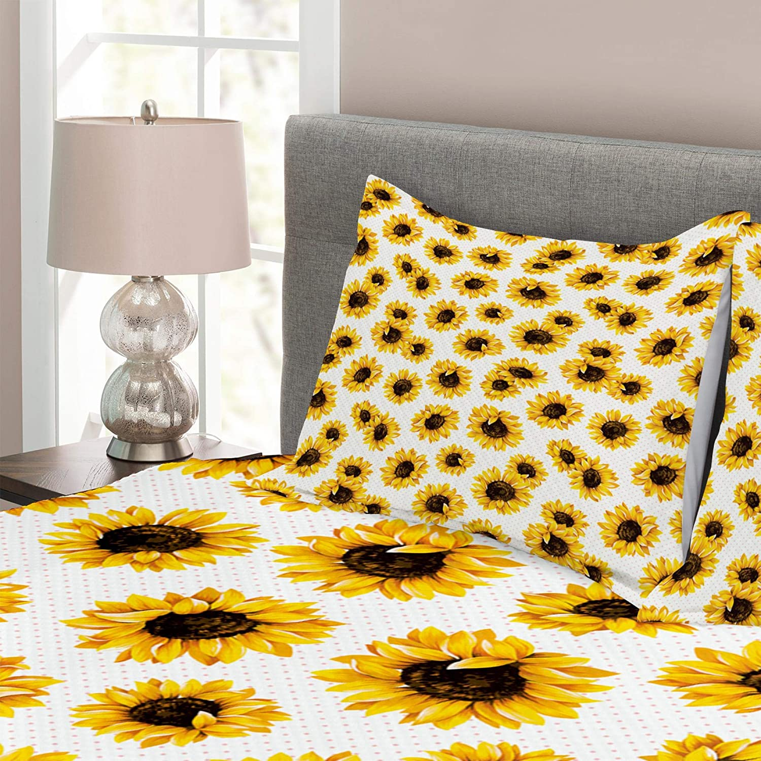 Lunarable Puerto Rico Bedspread Salsa Dancing Girl with Maracas Trombonist and Trumpeter Silhouette on Backdrop Marigold Twin Size Decorative Quilted 2 Piece Coverlet Set with Pillow Sham