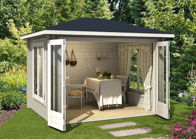 Carlsson Caseta de jardín de madera maciza Summertime-40, con 40 mm de grosor de pared, para jardín, casa de madera, incluye material de montaje, tamaño: 322 x 262 cm: Amazon.es: Jardín