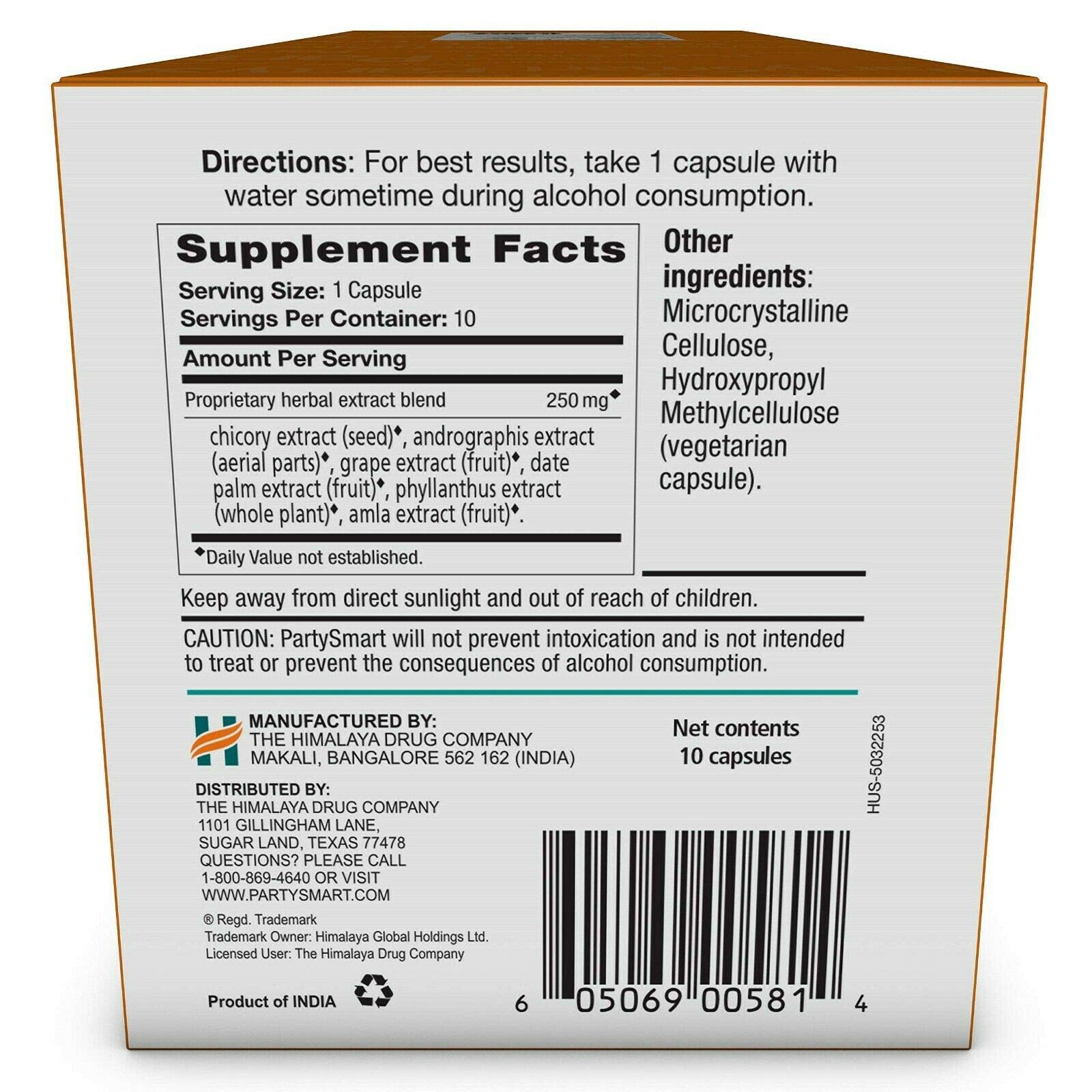 Himalaya PartySmart for Hangover Prevention, Alcohol Metabolism and a Better Morning After, 10 Capsules 250mg (3 Pack) by PARTYSMART (Image #1)