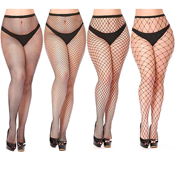 0fde9dfd13444 Womem's Sexy Black Fishnet Tights Plus Size Net Pantyhose Stockings (4  Pairs Fishnet Tights,