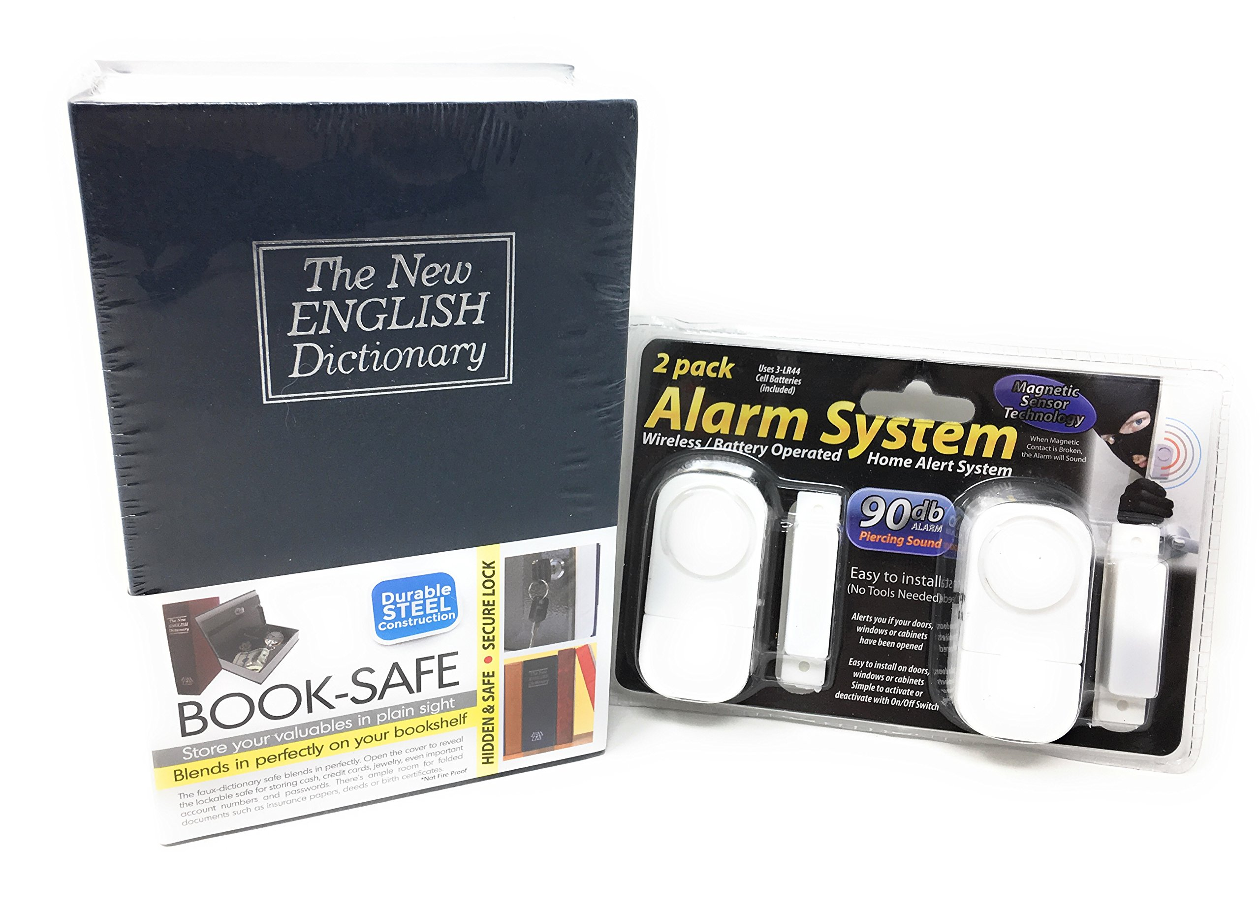 Must Have Home & Office Security Bundle: Durable Steel Construction Book-Safe w/ Secure Lock (Safe Disguised As New English Dictionary) & 2-Pack Wireless Home Alarm System (Easy to Install)