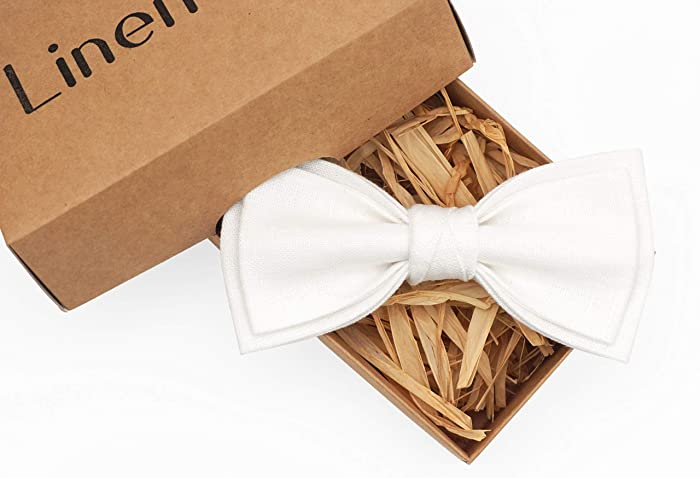 a8758138b944c Amazon.com: White pre-tied linen bow ties for men and toddler baby ...