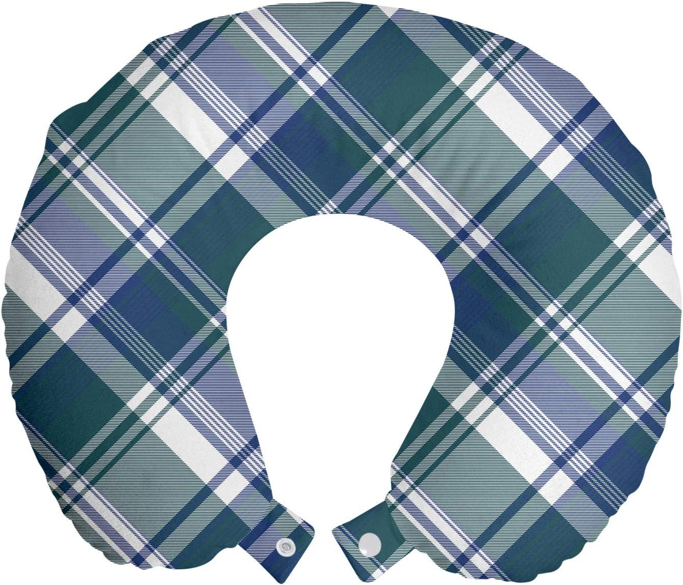 Amazon Com Lunarable Navy Plaid Travel Pillow Neck Rest Overlapped Diagonal Lines Checkered Fashion Illustration Memory Foam Traveling Accessory For Airplane And Car 12 Dark Teal Dark Lavender Home Kitchen