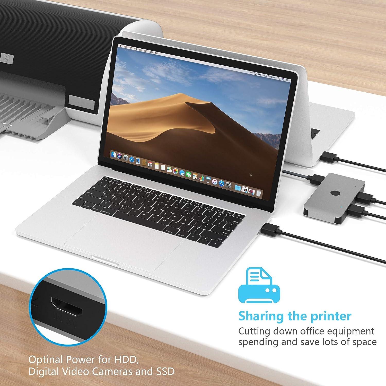 Scanner USB 3.0 Switch Wahlschalter Cateck 2 Computer teilen sich 4 USB Ger/äte Hub f/ür Drucker USB 3.0 Peripherie Umschaltbox PCs mit Einknopf Umschaltung und USB A an USB A Kabel Tastatur Maus