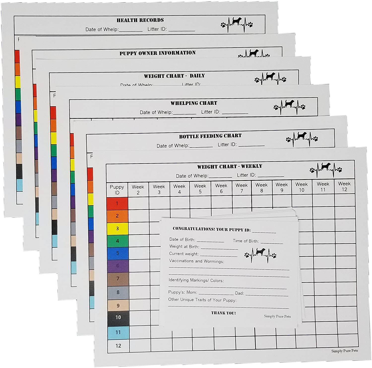 Two Arrows Puppy Whelping Charts for Record Keeping, Great for Breeders, Works Great for Recording and Tracking Data for Litters