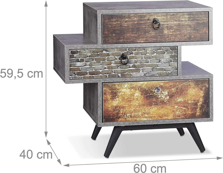 Relaxdays 10021858 Mobiletto Vintage a 3 Cassetti Armadietto Effetto Cemento Tiretti Shabby con Maniglia HLP 60x60x40 cm Grigio