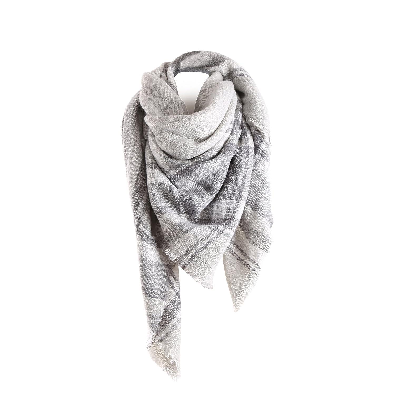 Surblue Warm Stylish Elegant British Style Color Blocking Plaid Shawl Scarf Blanket Grey ScarfA-Grey