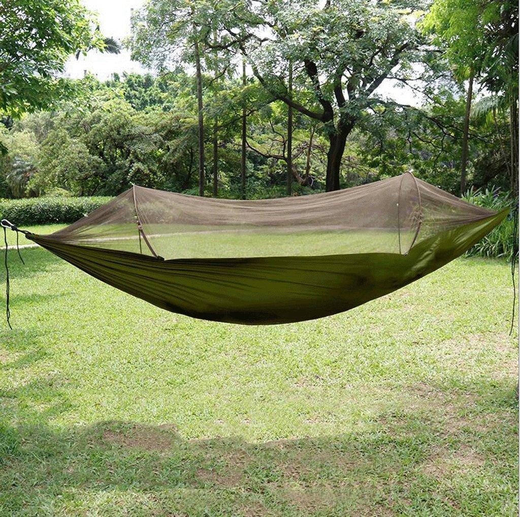 Yp-Hängematte Outdoor Hängematte bringen Moskitonetze Portable Camping Feld Doppel Hängematte Camping Schaukel (Farbe : Grün, größe : 2.9  1.45m)