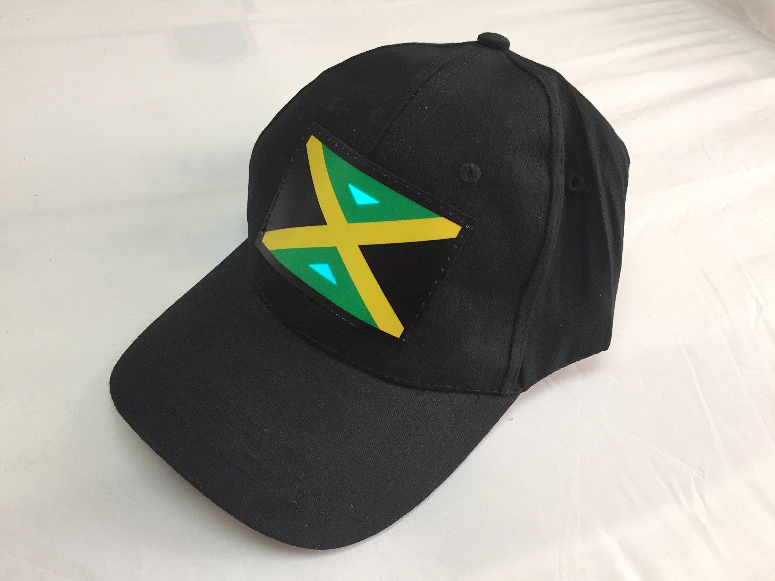 Accessory 4u Inc Dj Led Light Flashing Sound Activated Jamaica Jamaican Flag Light up Disco Rave Party Dj Dance Dancing Hat Cap