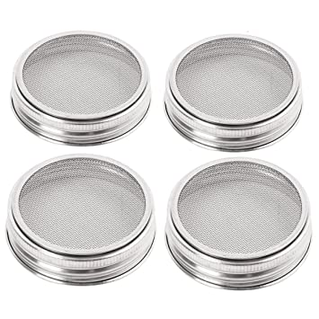 Wide or Regular Stainless Strainer Sprouter Lid 2 Pack For Canning Jars