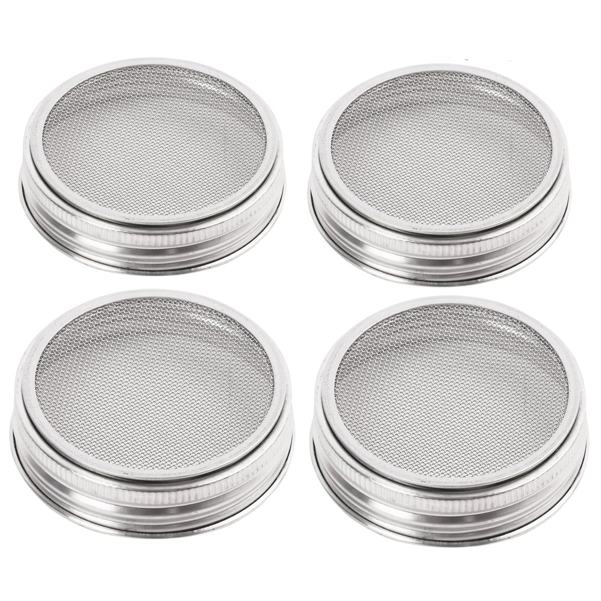 4 Pack Stainless Steel Sprouting Jar Strainer Lids - Regular Mouth Mason Jar Screen Sprouting Kit Lids - for Growing Bean, Broccoli, Alfalfa, Salad Sprouts and More