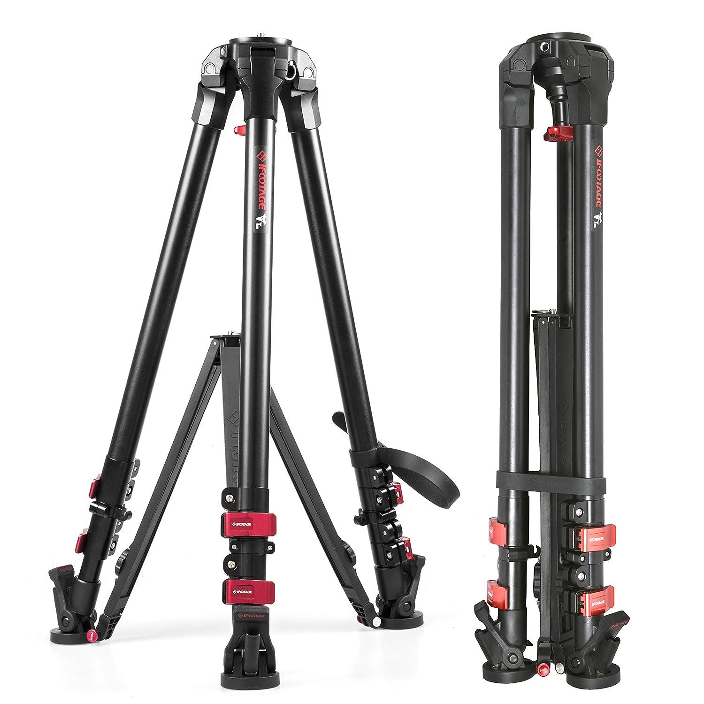 IFOOTAGE ビデオカメラ三脚 プロフェッショナル 三脚 デジタル一眼レフカメラビデオ写真用 耐荷重88ポンド 最大高さ59インチ  T5, Aluminum material B07GQY33NP