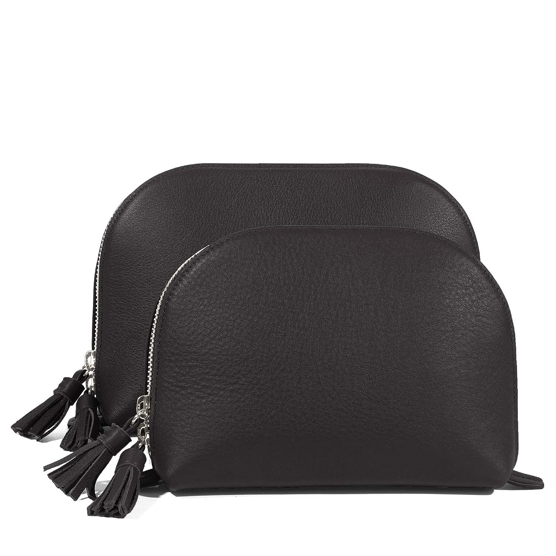 6d1d21843a Amazon.com  Clamshell Makeup Bag Set - Full Grain Leather Leather - Black  Onyx (black)  Beauty