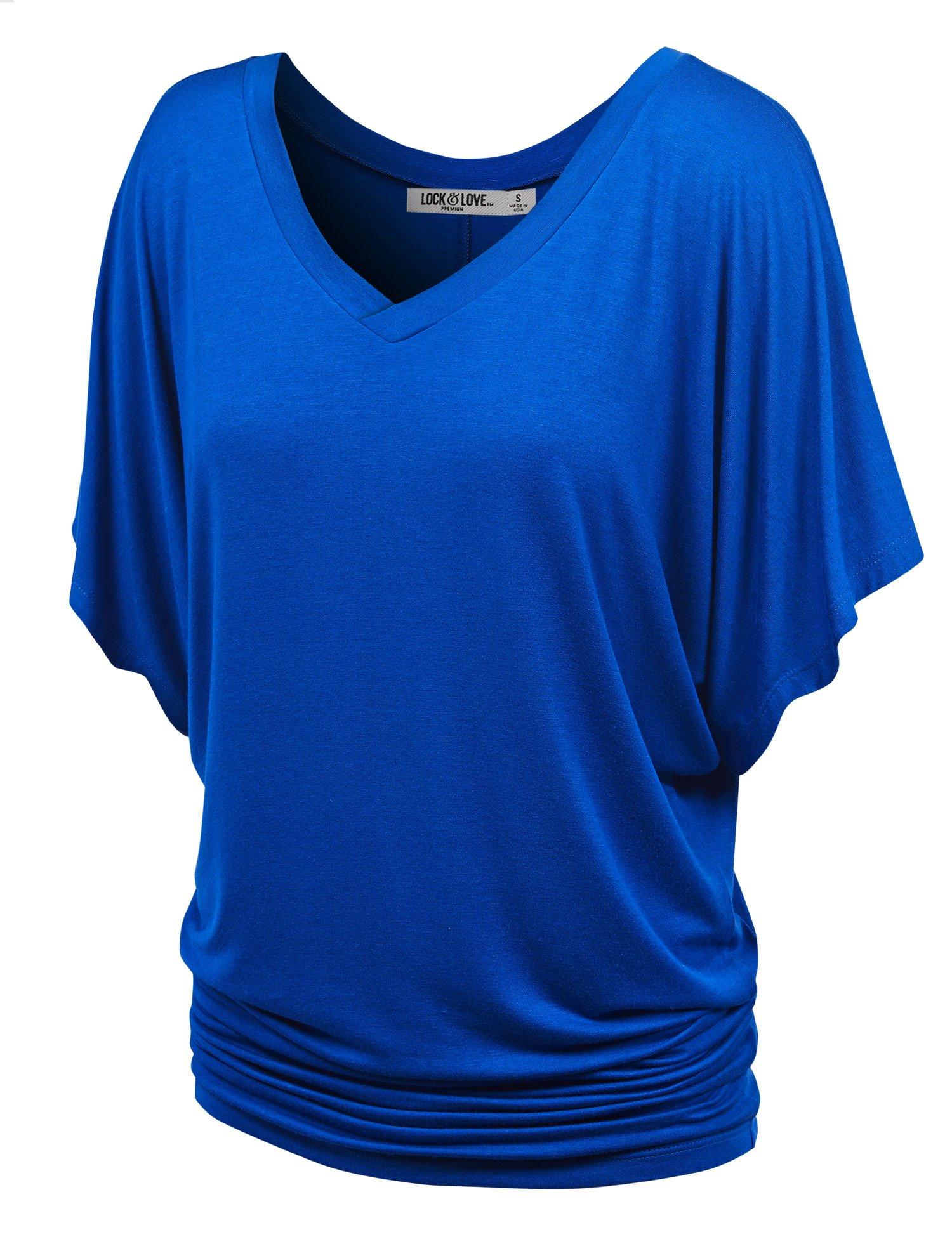 WT1038 Womens V Neck Short Sleeve Dolman Top L COBALT_BLUE