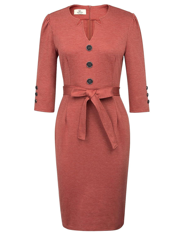Dark Red GRACE KARIN Women Retro 3 4 Sleeve Work Office Business Pencil Dress with Belt