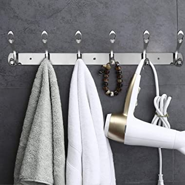 Wall Mounted Hooks/Coat Rack Wall Mounted,Stainless Steel Coat Rack for Wall with 6 Double Hooks Design,Rack Wall Hanger Coat Towel Hook for Entryway Bathroom Closet Room Foyer Hallways and Bedrooms