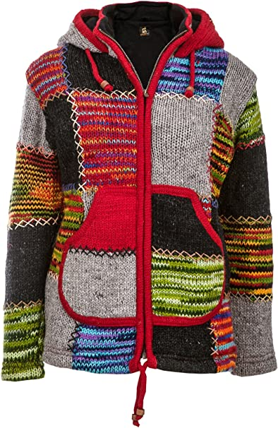 Bunte Patchwork Jacke | Herren | Nepal Jacke mit Patches | Wolljacke | Warmes Fleece Innenfutter