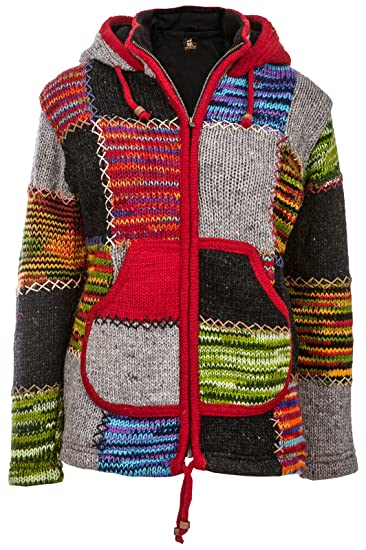 Wolljacke Nepal JackeHerren Mit Patchwork Innenfutter Warmes Fleece Patches Bunte q5A3RL4j