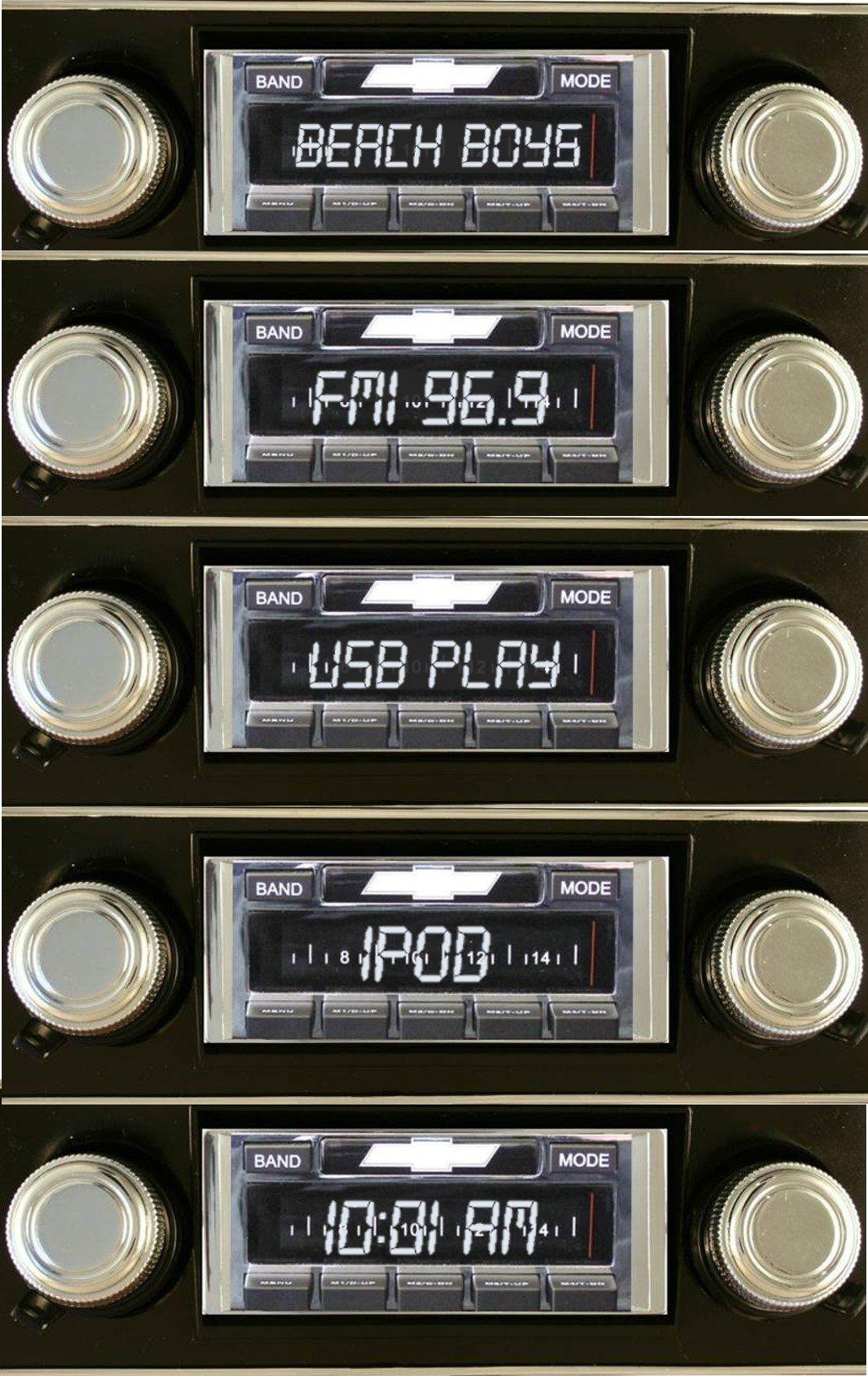 1967-1968 Camaro BLACK Dash USA-630 II High Power 300 watt AM FM Car Stereo/Radio with iPod Docking Cable