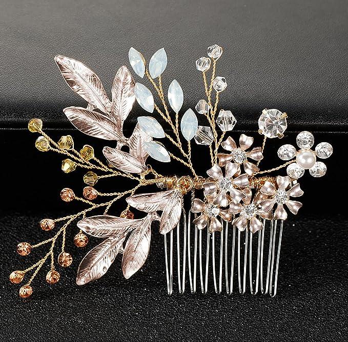 USA Hair Comb Austrian Rhinestone Crystal Hairpin Bridal Wedding Twist Gold C7
