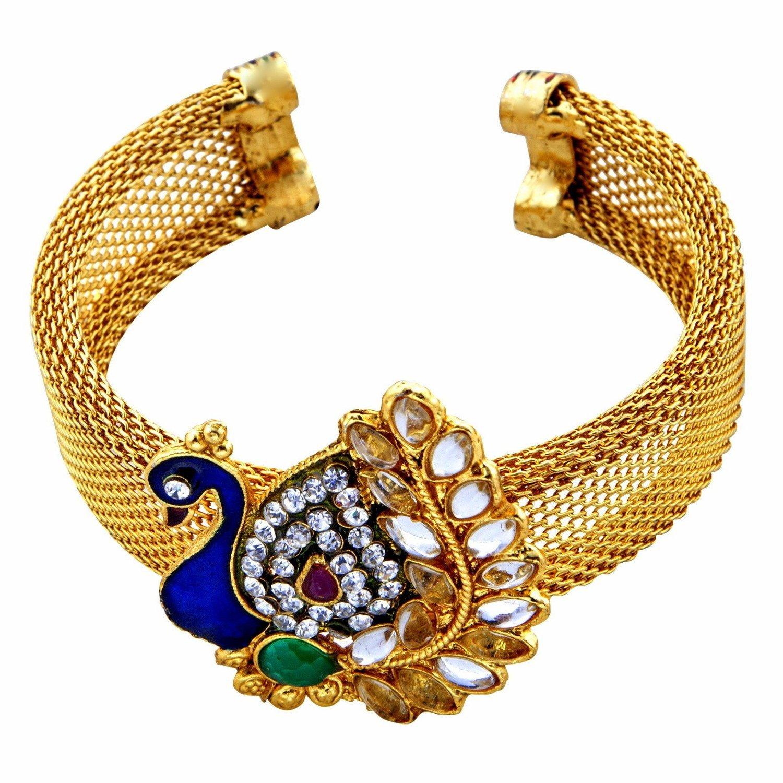 Buy Shining Diva Kundan Peacock Gold Plated Traditional Jewellery ...