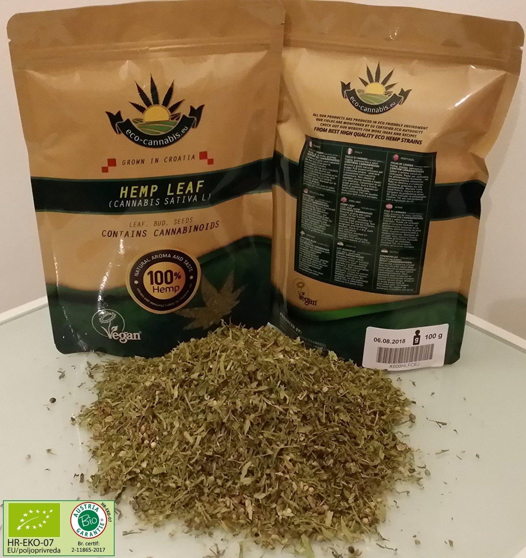ECO/BIO Organic Hemp Herb tea Grams (2-5%), Vegan certified, EU production, Hand Cut, Milled & Packed (200) opg hrzica