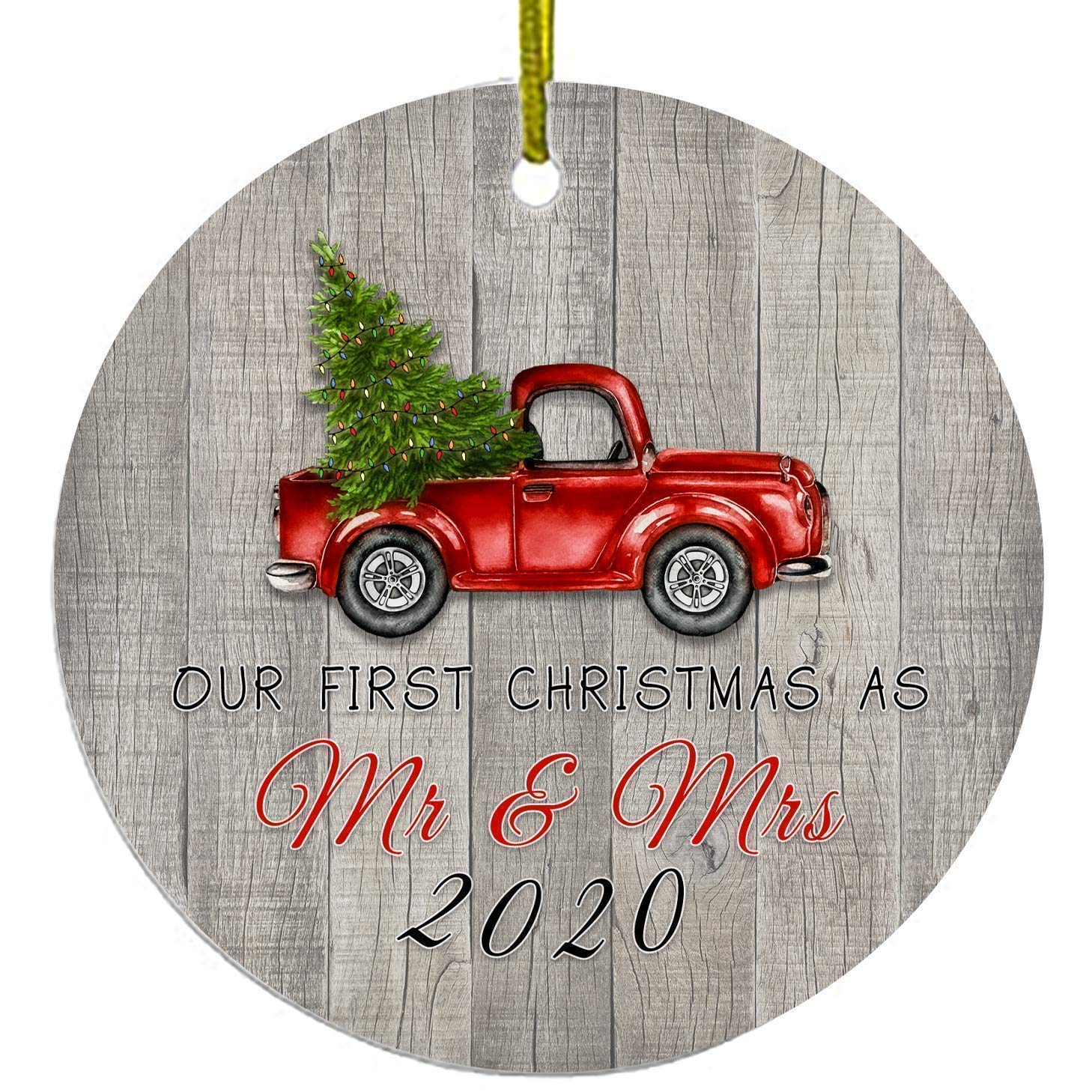 Christmas Ornaments | Our First Christmas As Mr And Mrs | Rustic Ornament With Red Truck And Green Tree 2020 First XMAS Ornament | Cute Gift Wedding Presents For Newlywed | Ceramic Holiday Decoration…