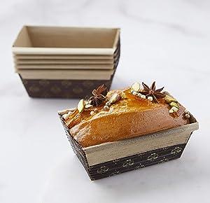 Rectangular Paper Loaf Pan Molds Mini Size - 4''x2''x2'' - 25pcs