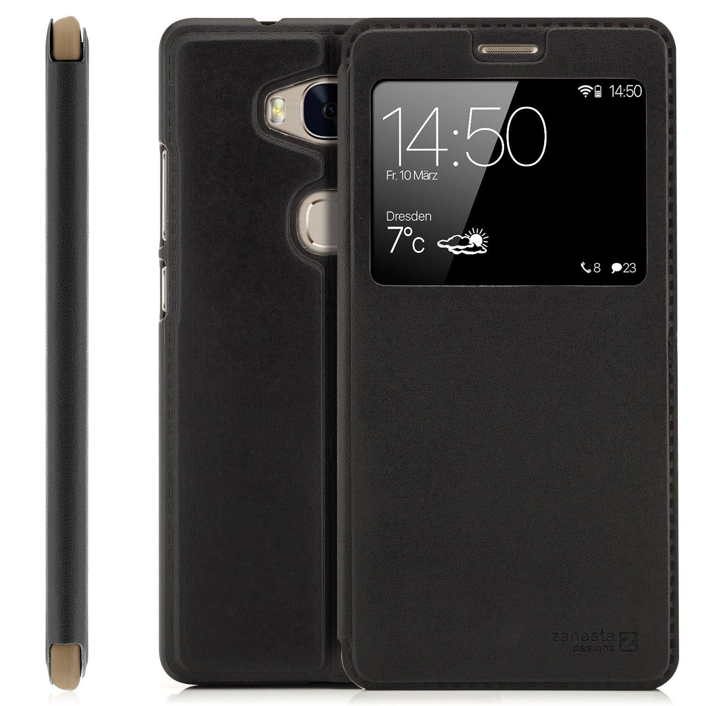 Zanasta Designs Funda Huawei P8 Lite (2015) Cover Flip Wallet Case Cubierta de la Ventana, protecció n de la cá mara |Rosa protección de la cámara |Rosa 4251256753264