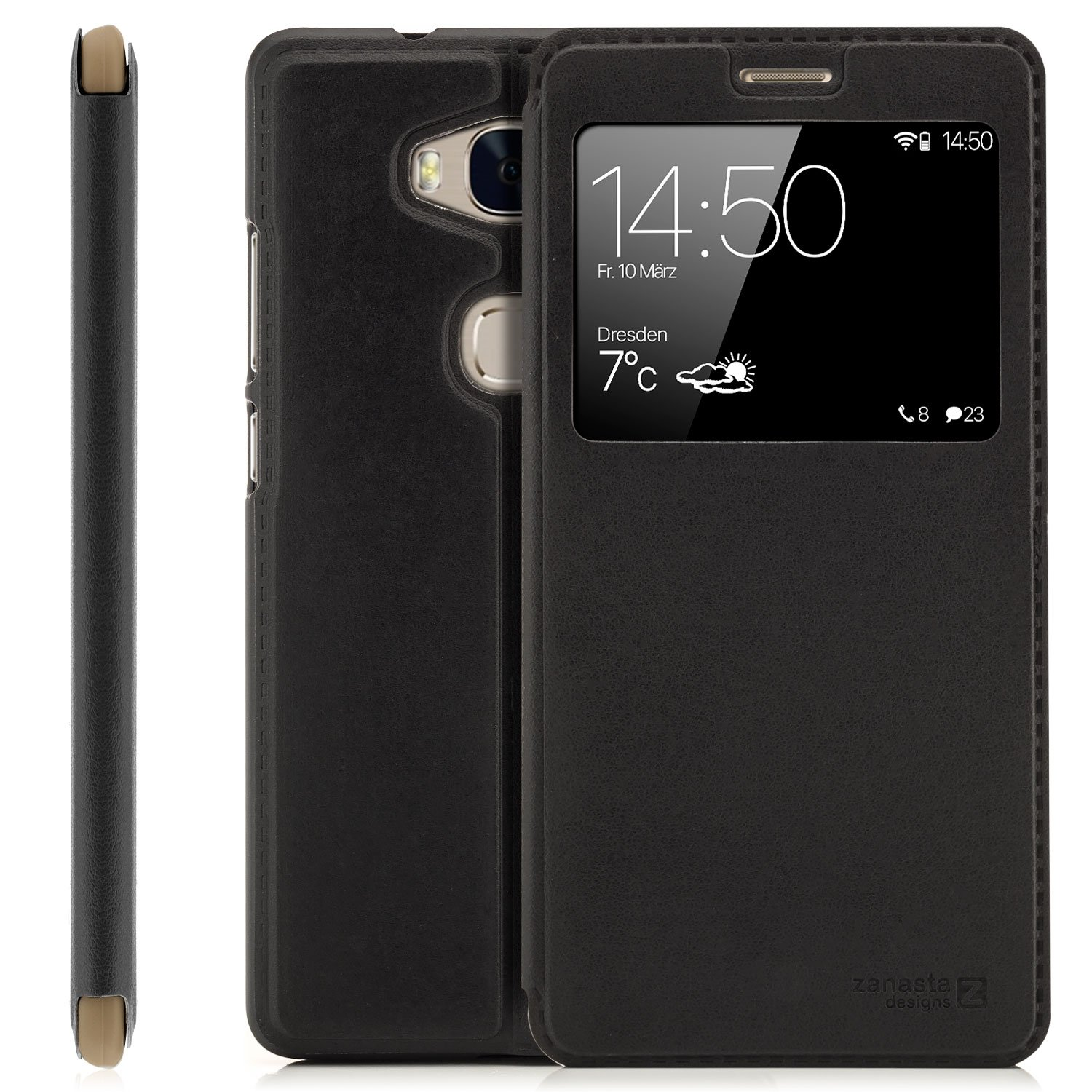 Huawei Honor 8 (FRD-L09,FRD-L19,FRD-L04) Case Protector Flip Cover [Zanasta Designs] Phone Wallet / View Flip Case with Window, High Quality Premium [Slim Profile] Black