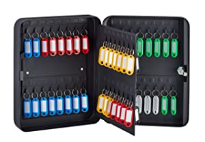 AdirOffice Key Cabinet with Key Lock - 60 Key Hooks & Tags - Durable & Heavy Duty Secured Storage for Homes Hotels Schools & Commercial Use (Black)
